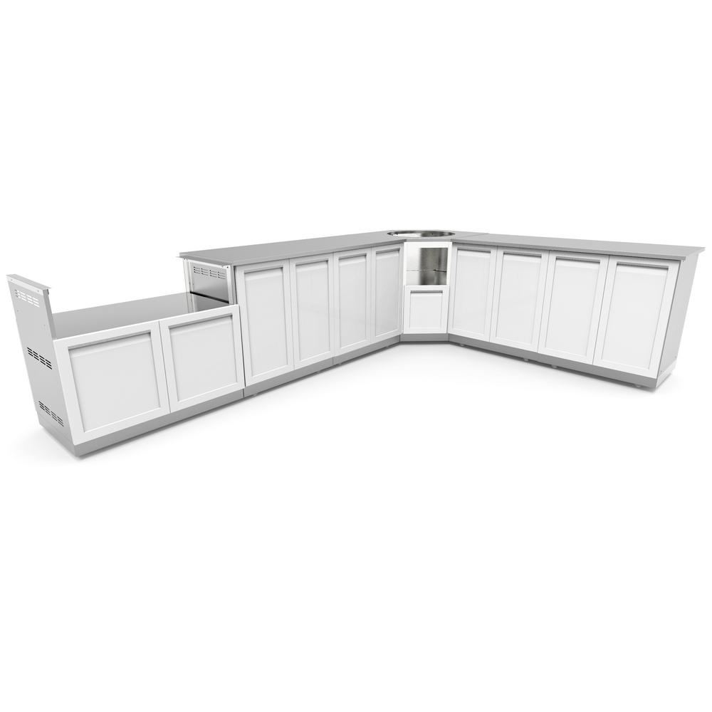 Steel Outdoor Grill Cabinet Set Powder Coated Doors White