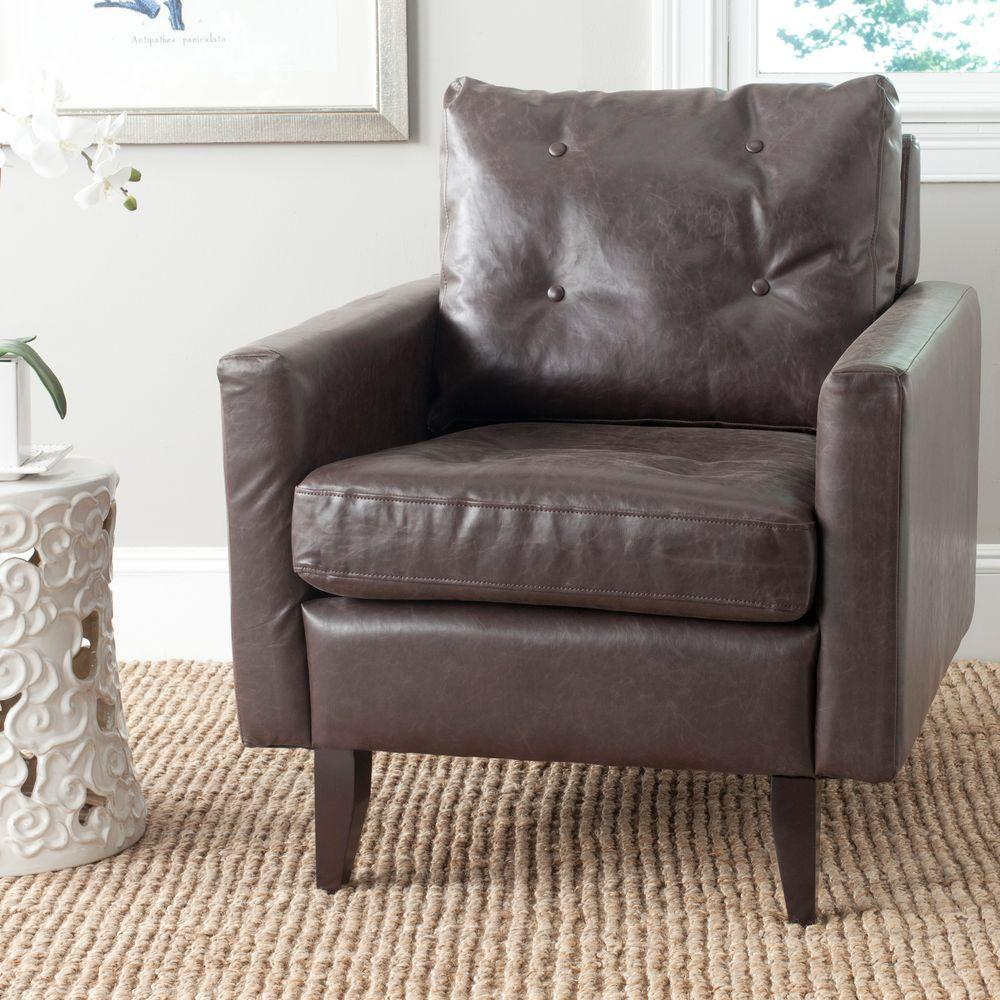 Safavieh caleb antique brown espresso bicast leather club arm chair mcr4569c the home depot