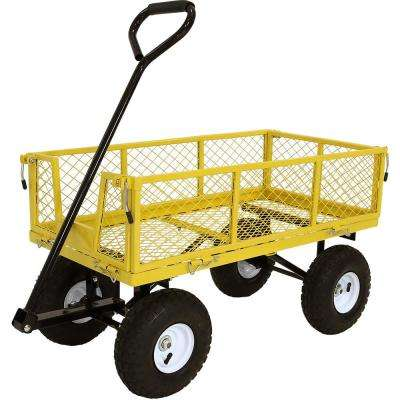 Yellow Steel Utility Cart with Removable Folding Sides