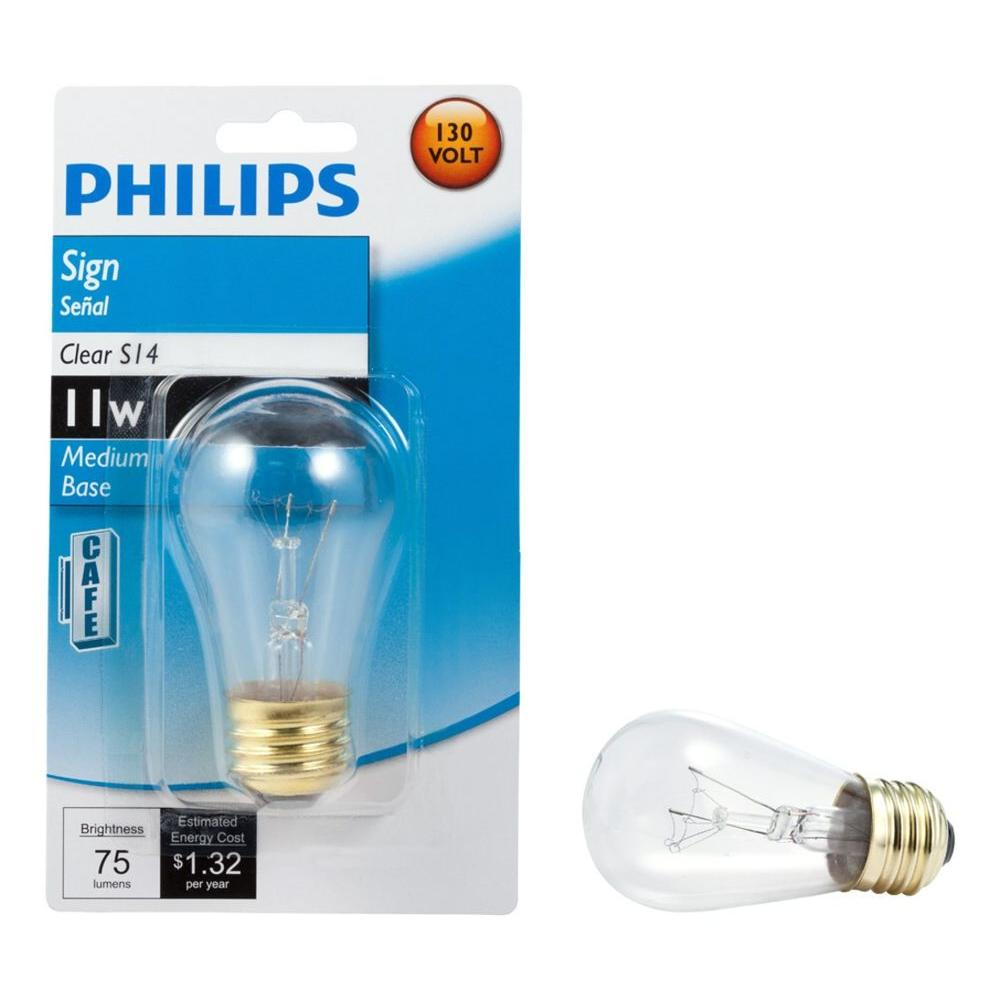 Philips 11 Watt S14 Incandescent Sign Lamp Clear Light