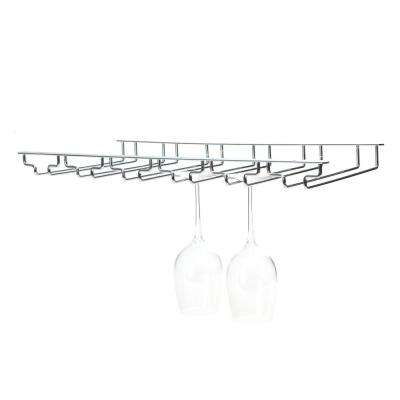 6-Row Chrome Wine Glass Rack Holder in Silver