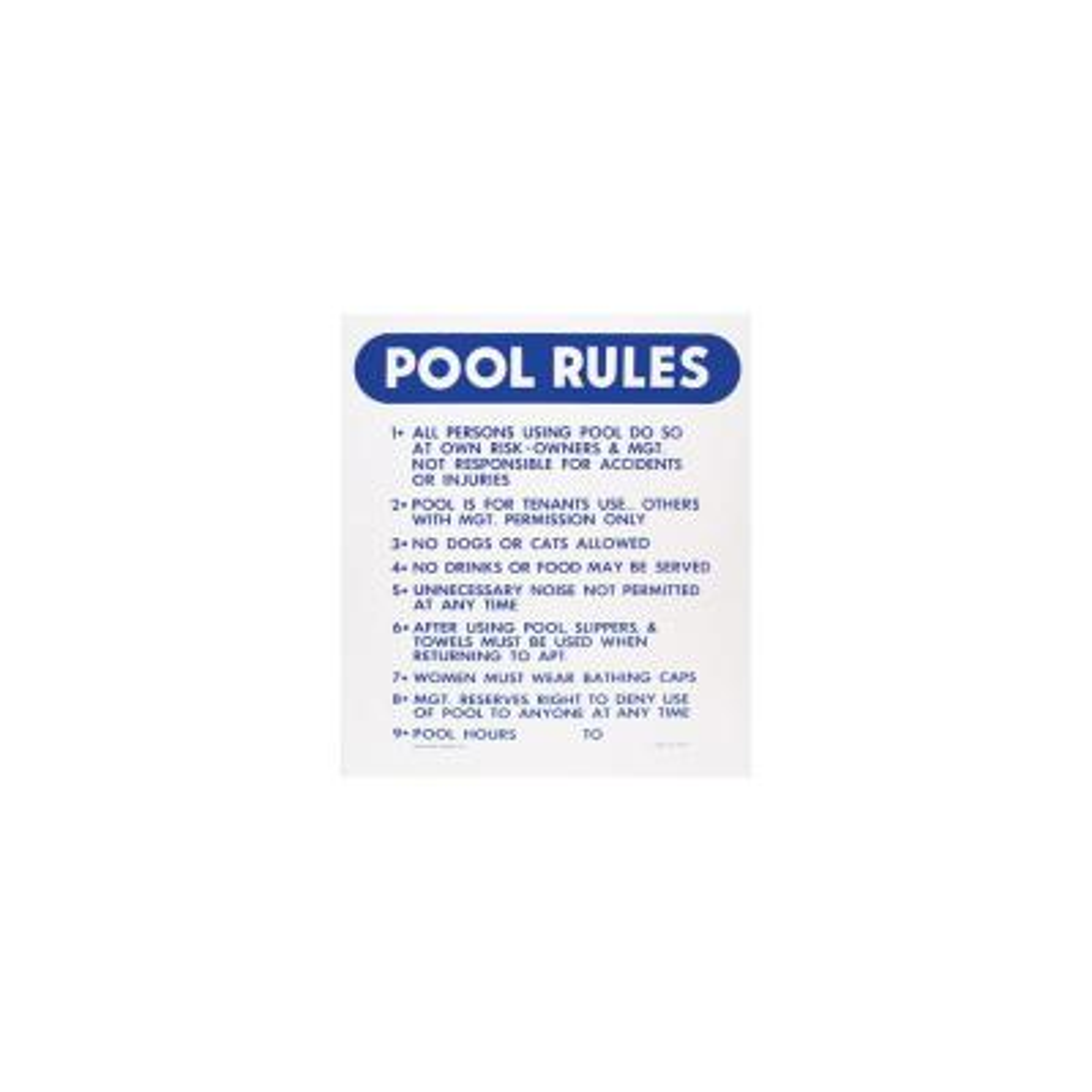 18 in. x 24 in. Blue Devil Pool Rules Sign
