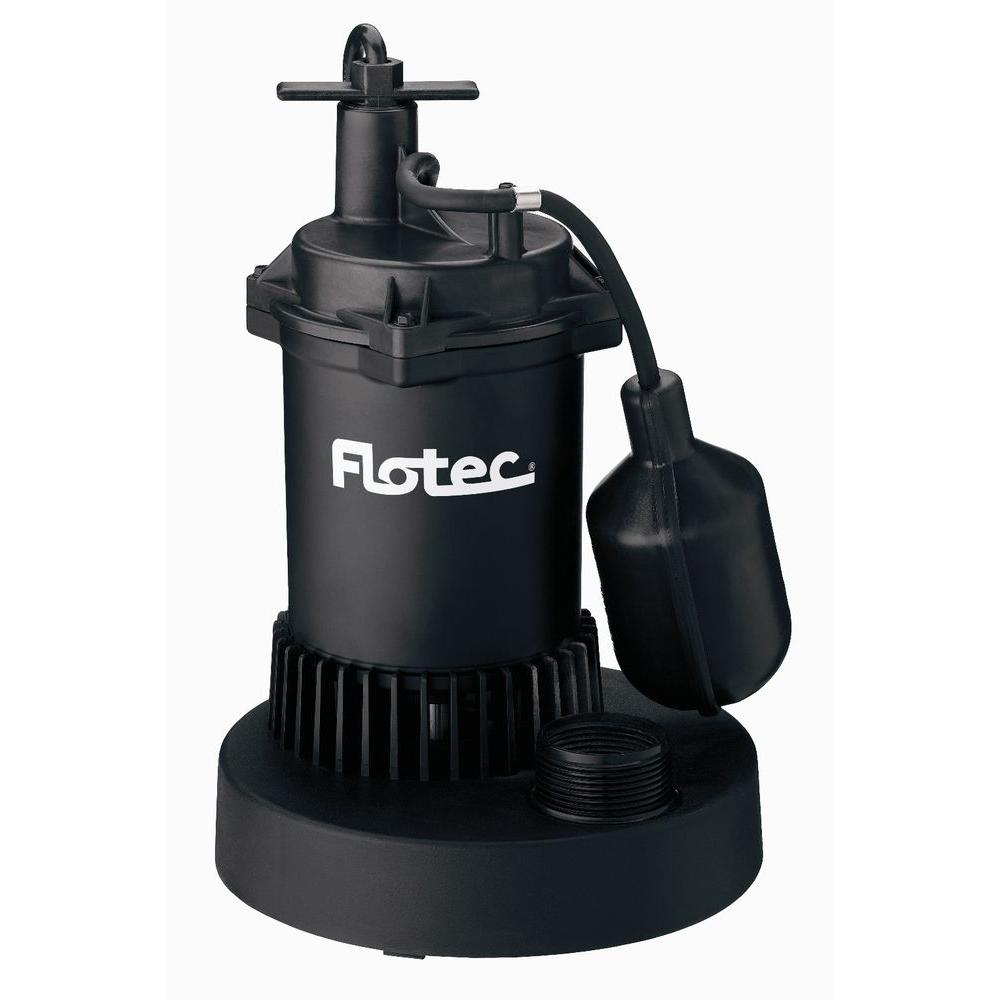 Flotec 1/3 HP Thermoplastic Submersible Sump Pump with Tethered Switch