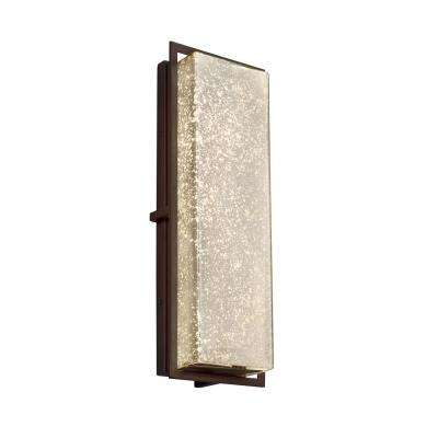 Fusion Avalon Large Dark Bronze Integrated LED Outdoor Wall Sconce with Mercury Glass Shade