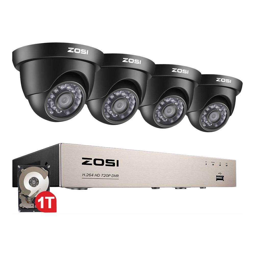 8-Channel 720p DVR 1TB Surveillance System with 4-Wired Dome Cameras ZOSI surveillance systems are designed to meet your home and business needs with easy installation and operation. Day or night, you should always feel safe and secure. With this HD security system, you can keep tabs on what's happening at your home or business and watch the high-quality video on your tablet or smartphone anytime.