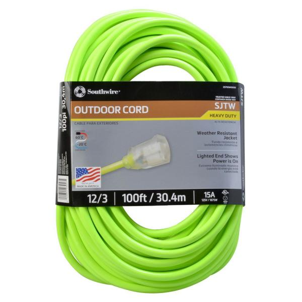 100 ft. 12/3 SJTW Outdoor Heavy-Duty Neon Green Extension Cord with Power Light Plug
