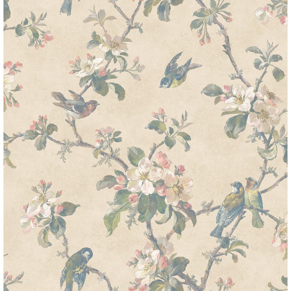 Brewster Eloisa Beige Floral Scroll Wallpaper Sample 2734-003219SAM