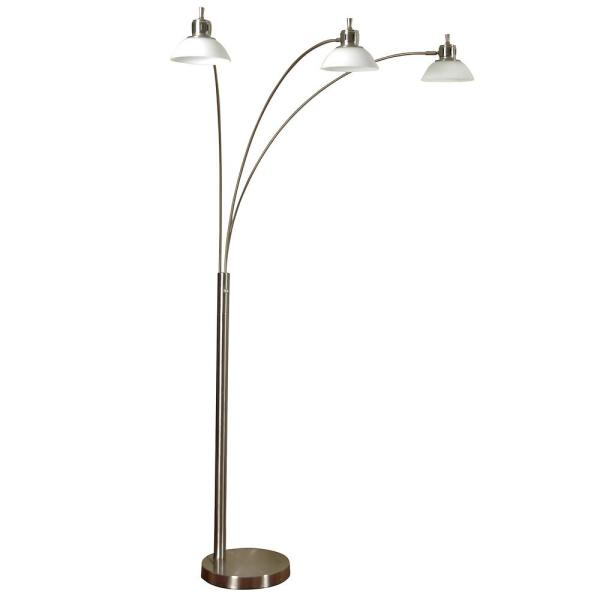 80 in. Brushed Steel Floor Lamp with Opal Glass Shade