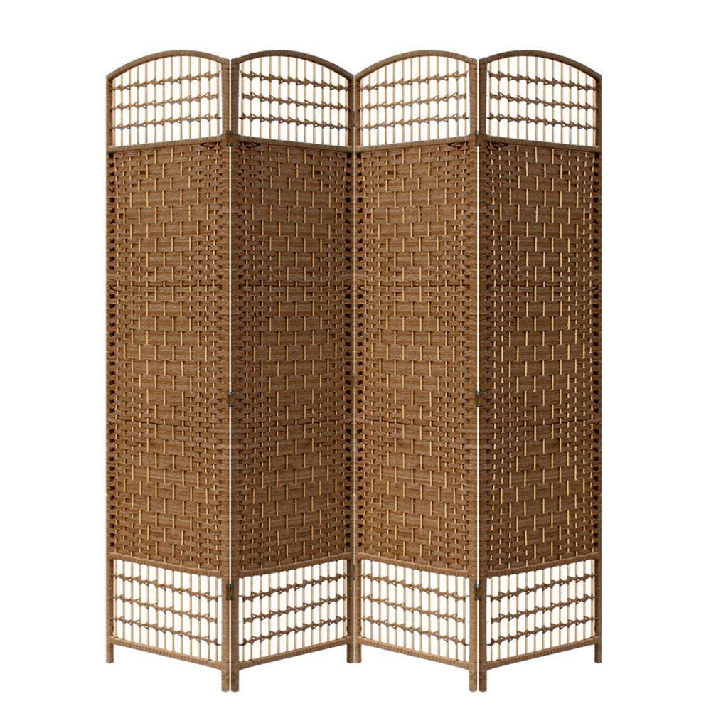 5.56 ft. Brown 4-Panel Room Divider