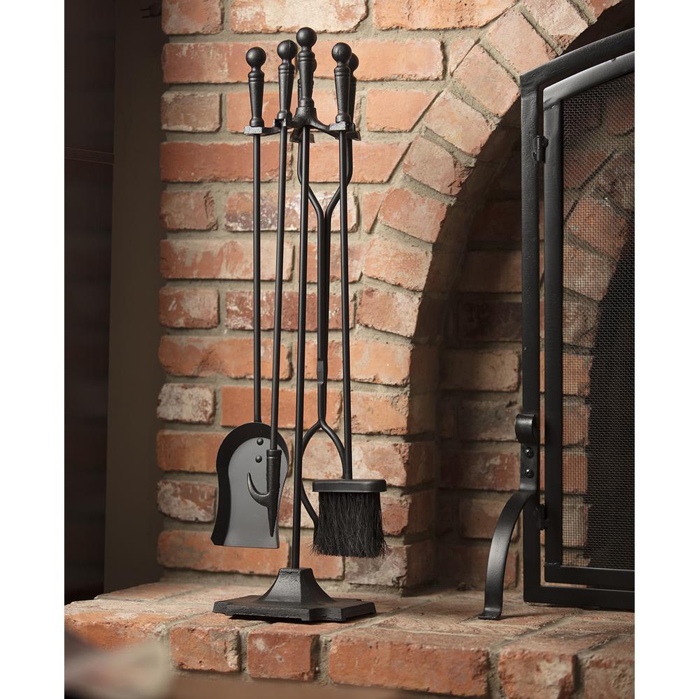Black Cast Iron 5-Piece Fireplace Tool Set with Ball Handles