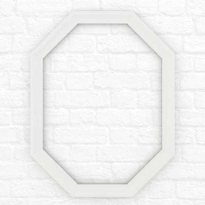 26 in. x 34 in. (M2) Octagonal Mirror Frame in Matte White