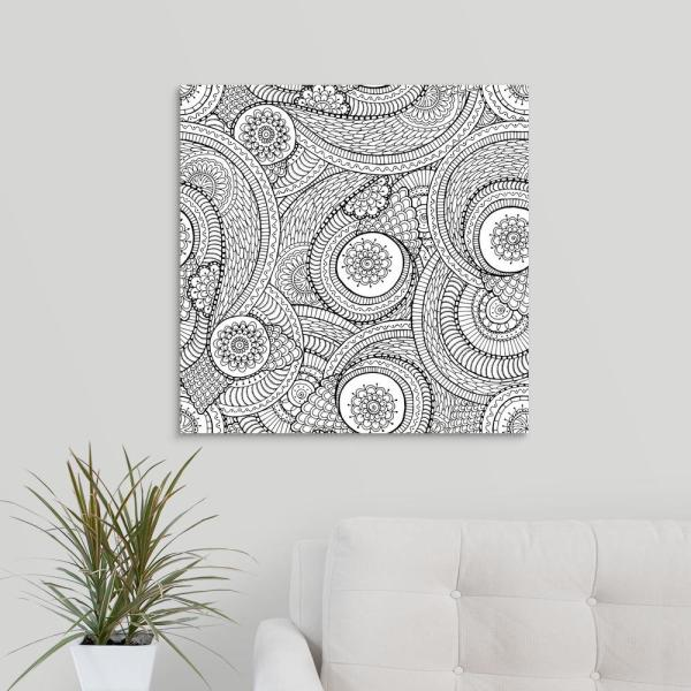 GreatBigCanvas ''Flowers and Swirls IV'' by Julia Snegireva Canvas Wall Art