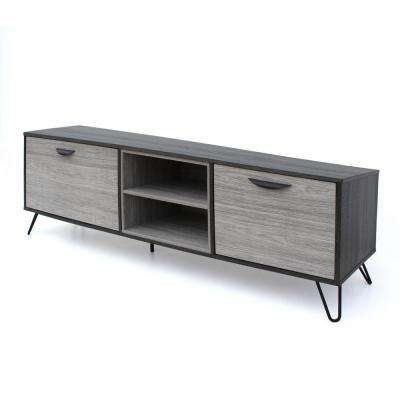 Two-Tone Brown TV Console with 2 Drawers and 2 Shelves