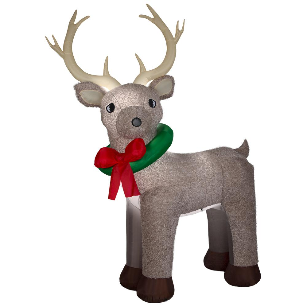 Home Accents Holiday 11 ft. Pre-Lit Inflatable Reindeer Fuzzy Airblown