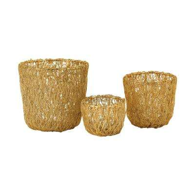 Wild Woven Wire Decorative Bowls in Gold (Set of 3)