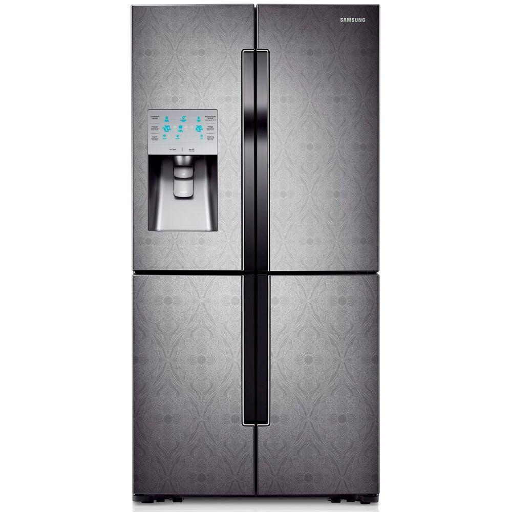 Samsung 30.39 cu. ft. 4-DoorFlex French Door Refrigerator in Paisley Textured Stainless Steel