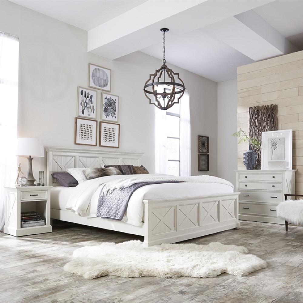 DMI Furniture Seaside Lodge Hand Rubbed White King Panel Bed-5523 ...