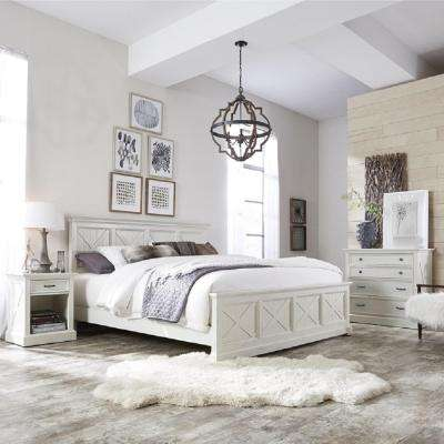 Seaside Lodge Hand Rubbed White King Panel Bed