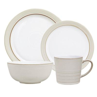 Natural Canvas White Place Setting Set (4-Piece)