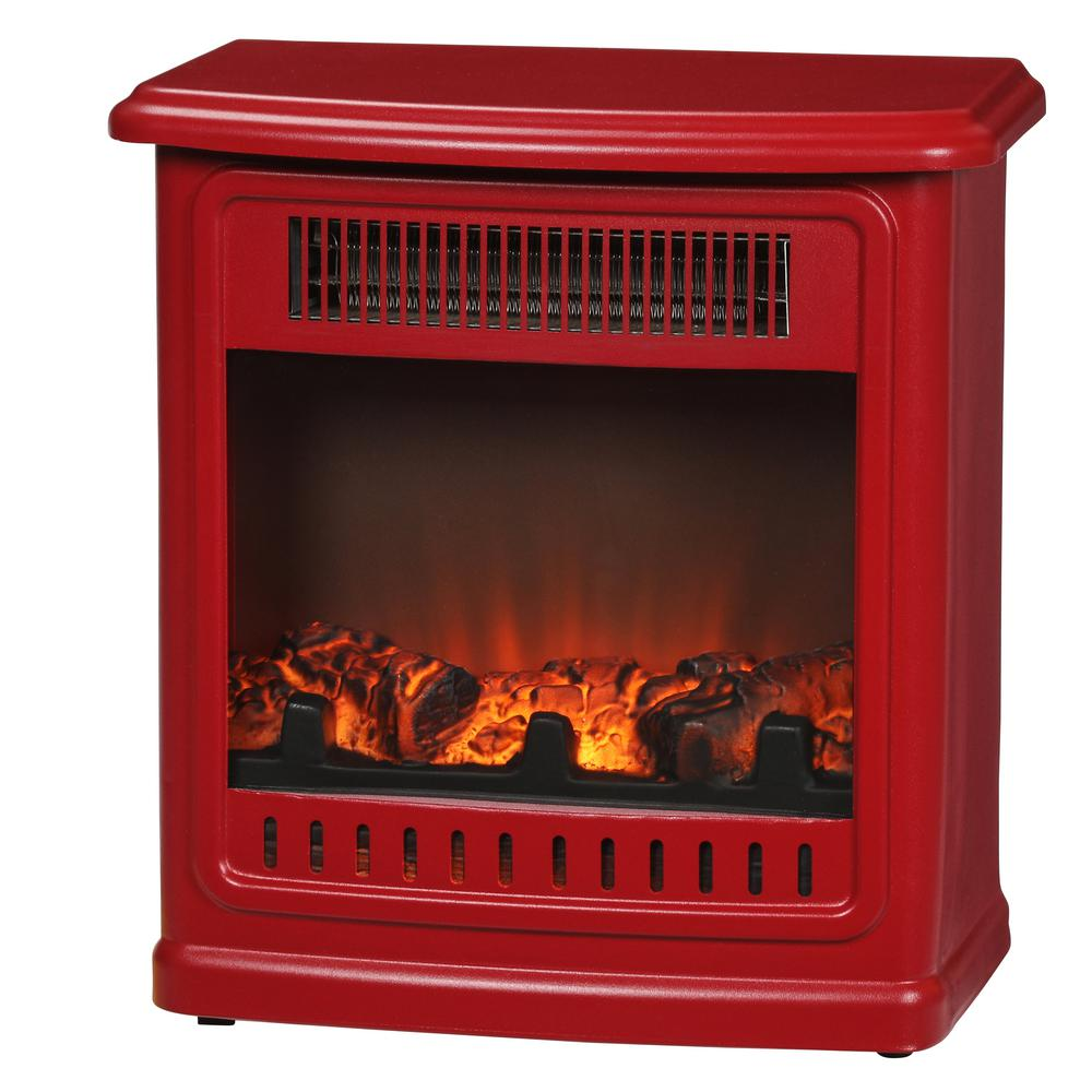 Hampton Bay Crestland 13 in. Desktop Electric Fireplace in Red
