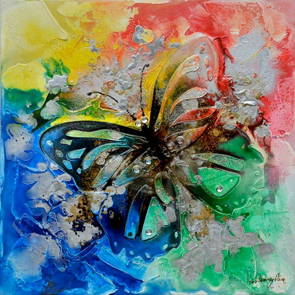 Yosemite Home Decor 23.5 in. x 23.5 in. Butterfly Bliss I Hand Painted Contemporary Artwork-DISCONTINUED