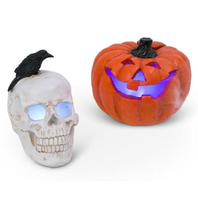 9.45 in. H Electric Smoking Vapor Jack-O-Lantern and Skull with Color Changing Effect (Set of 2)
