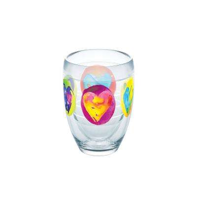 Multicolored Hearts 9 oz. Double-Walled Tritan Stemless Wine Glass
