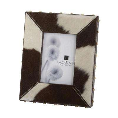 Faux Pony 1-Opening 4 in. x 6 in. Holstein Faux Leather Picture Frame