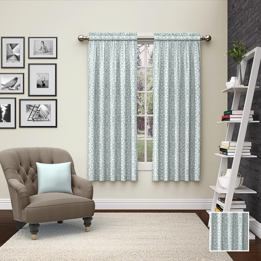 PairstoGo Pairs to Go Pinkney Window Curtain Panels in Mist - 56 in. W x 63 in. L (2-Pack), Blue