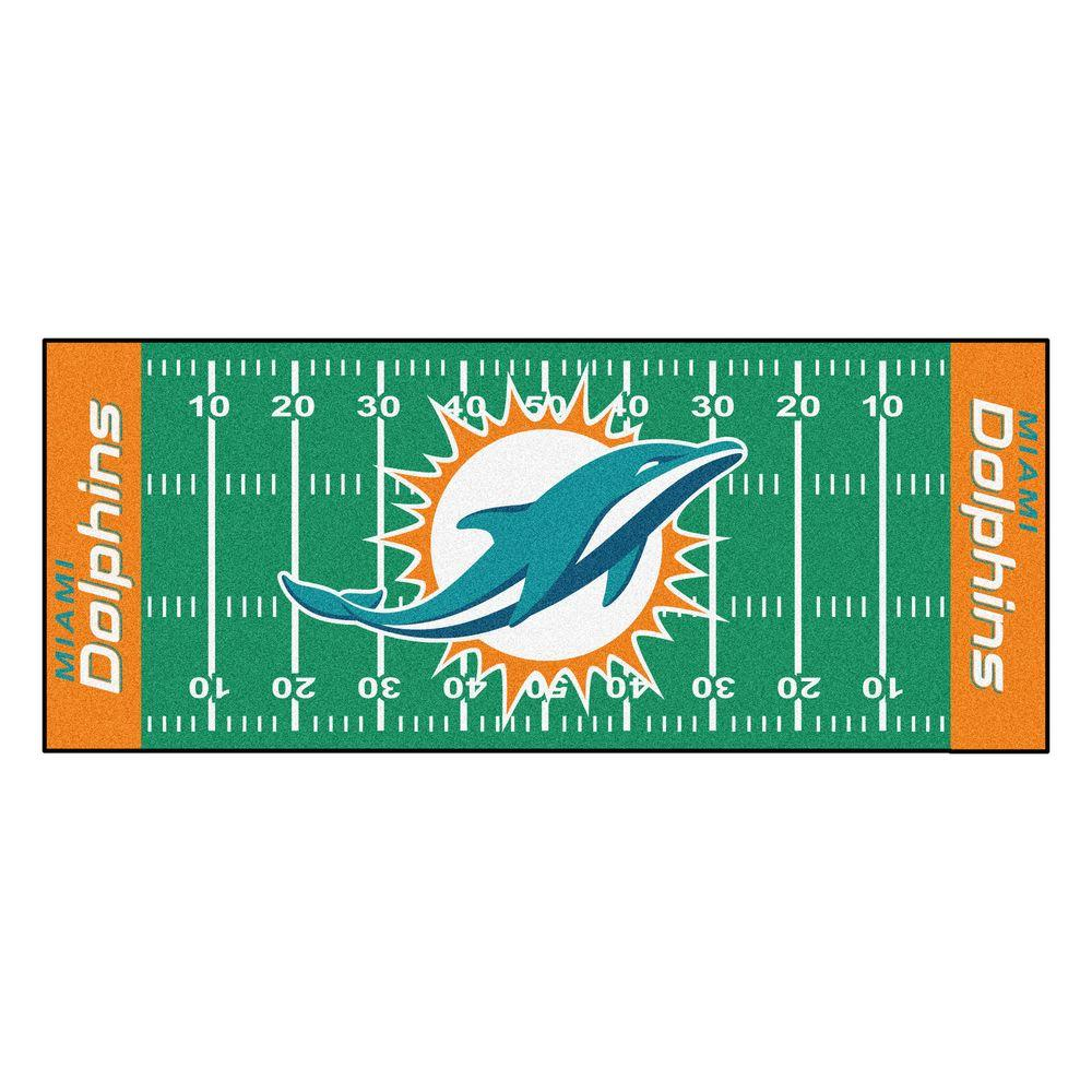 a3301d80d FANMATS Miami Dolphins 3 ft. x 6 ft. Football Field Rug Runner Rug ...