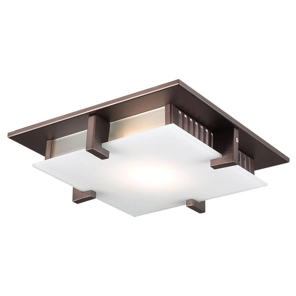PLC Lighting 1-Light Ceiling Light Oil Rubbed Bronze Acid Frost Glass Flush Mount by PLC Lighting