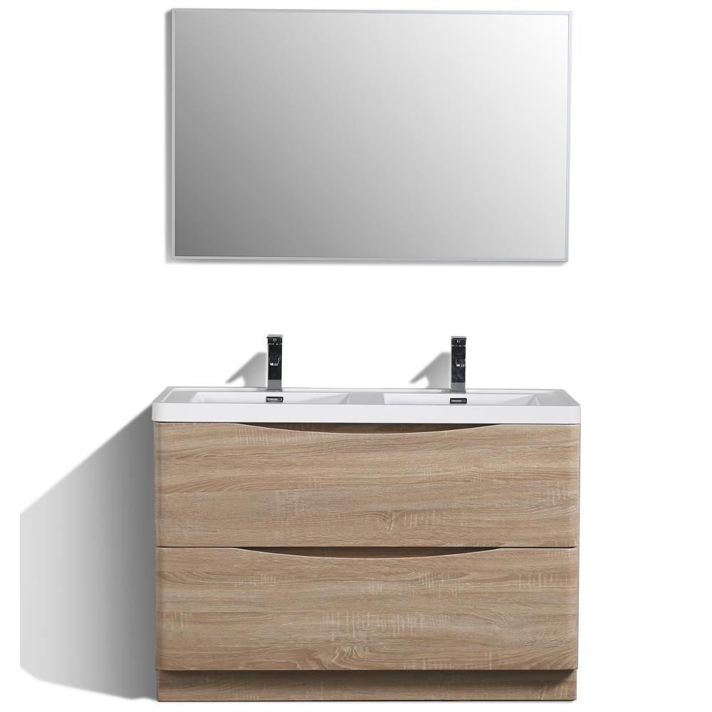 Eviva Smile 48 in. W x 19 in. D x 33.5 in. H Vanity in White with Acrylic Vanity Top in White Oak with White Basin