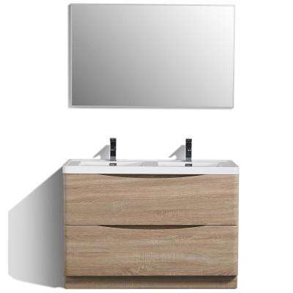 Smile 48 in. W x 19 in. D x 33.5 in. H Vanity in White with Acrylic Vanity Top in White Oak with White Basin