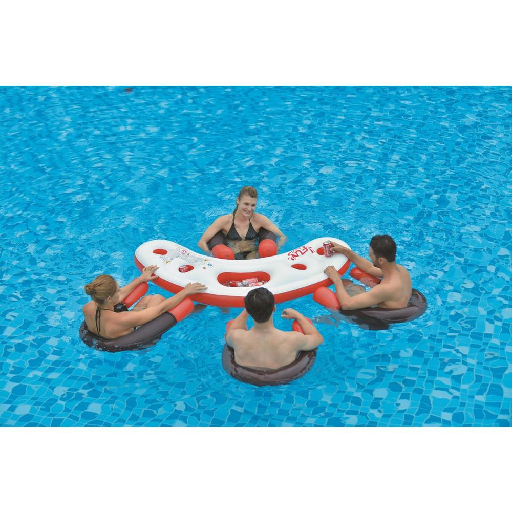 67 in. Inflatable Red, White and Black Floating Bar Set