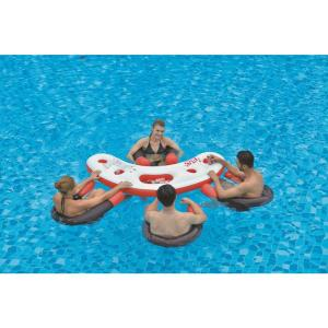 Pool Central 67 inch Inflatable Red, White and Black Floating Bar Set by Pool Central