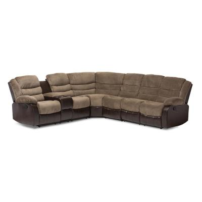 Robinson 4-Piece Taupe Fabric 6-Seater L-Shaped Sectional Sofa