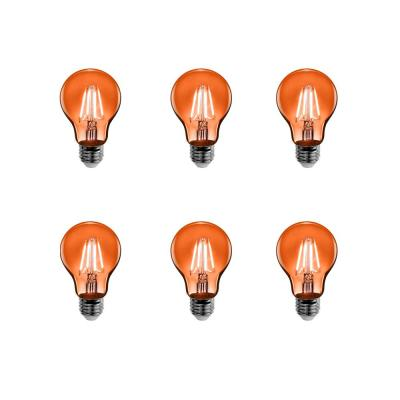 25-Watt Equivalent A19 Medium E26 Base Dimmable Filament Orange Colored LED Clear Glass Light Bulb (6-Pack)