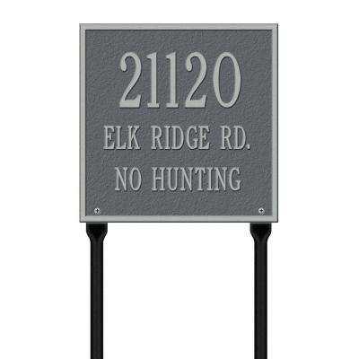 Square Standard Lawn 3-Line Address Plaque - Pewter/Silver