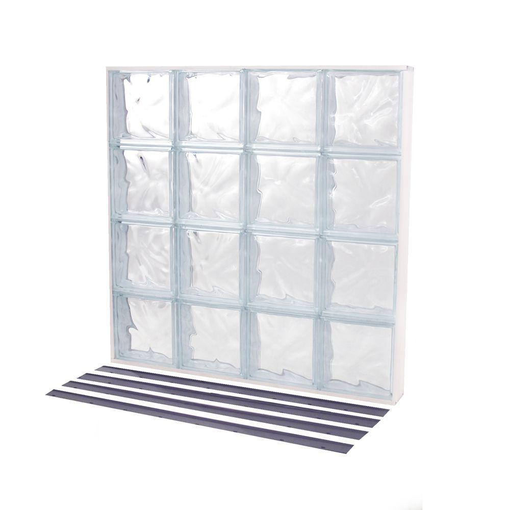 TAFCO WINDOWS 31.625 in. x 31.625 in. NailUp2 Wave Pattern Solid Glass Block Window