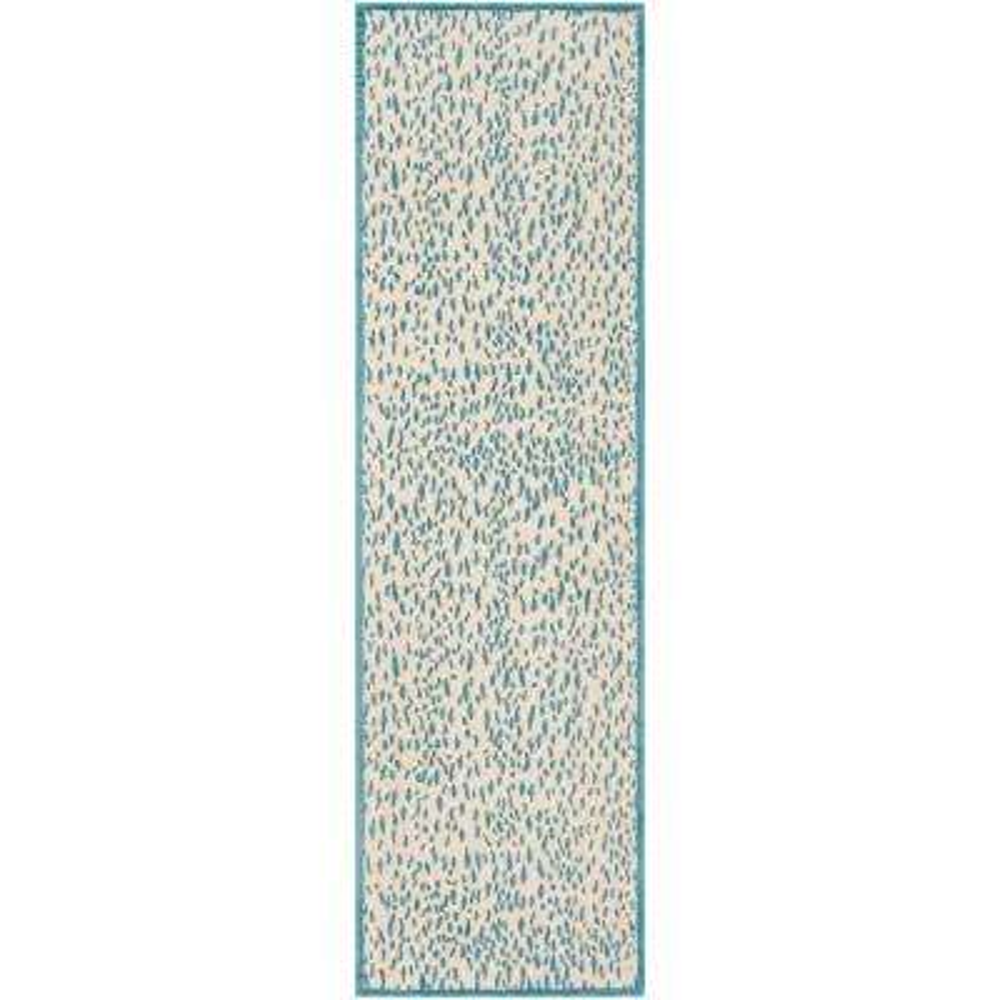 Marbella Beige/Blue 2 ft. 3 in. x 8 ft. Runner Rug