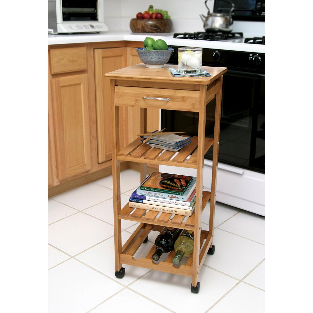 Lipper International Bamboo Kitchen Cart With Wine Rack
