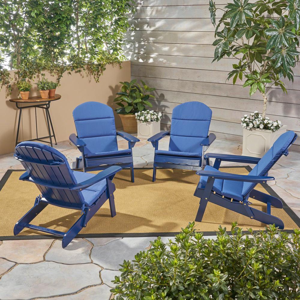 Malibu Navy Blue Wood Adirondack Chair with Navy Blue Cushion (4-Pack)