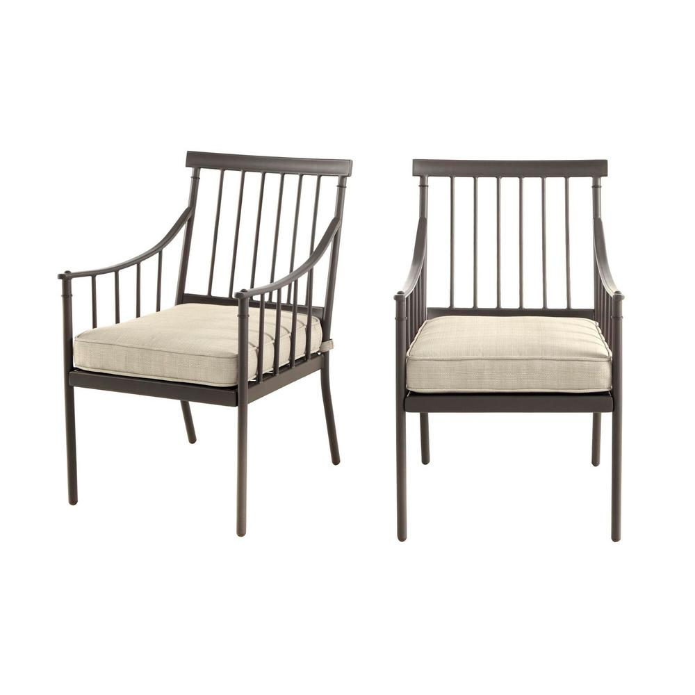 hamptonbay Hampton Bay Mix and Match Farmhouse Steel Outdoor Patio Dining Chair with Tan Cushion (2-Pack)