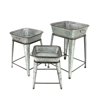 Square Galvanized Iron Raised Planters (3-Set)
