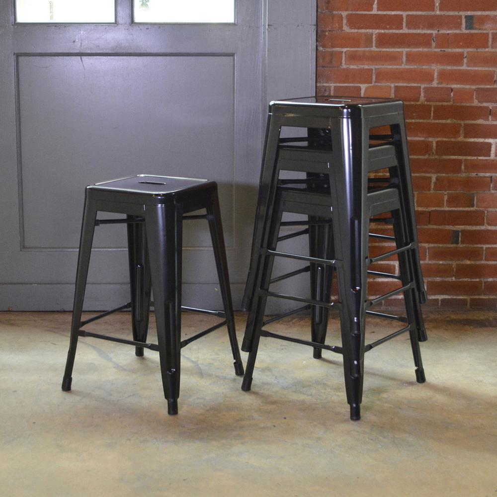 Stackable Metal Bar Stool In Black Set Of 4