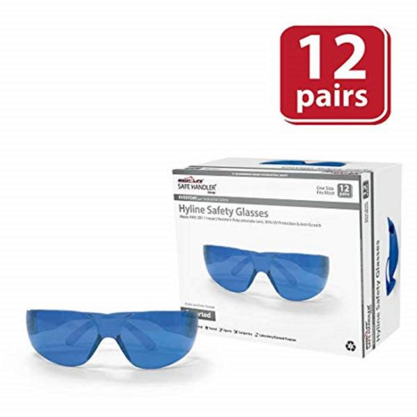 Hyline Safety Glasses : Full Color, Anti-Scratch, 12-Pairs 12-Assorted Colors (1 Box)