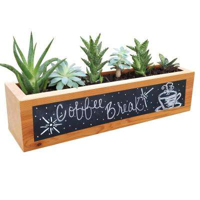 4 in. x 4 in. x 16 in. Succulent Planter Wood Rectangular with Chalkboard Front Planter