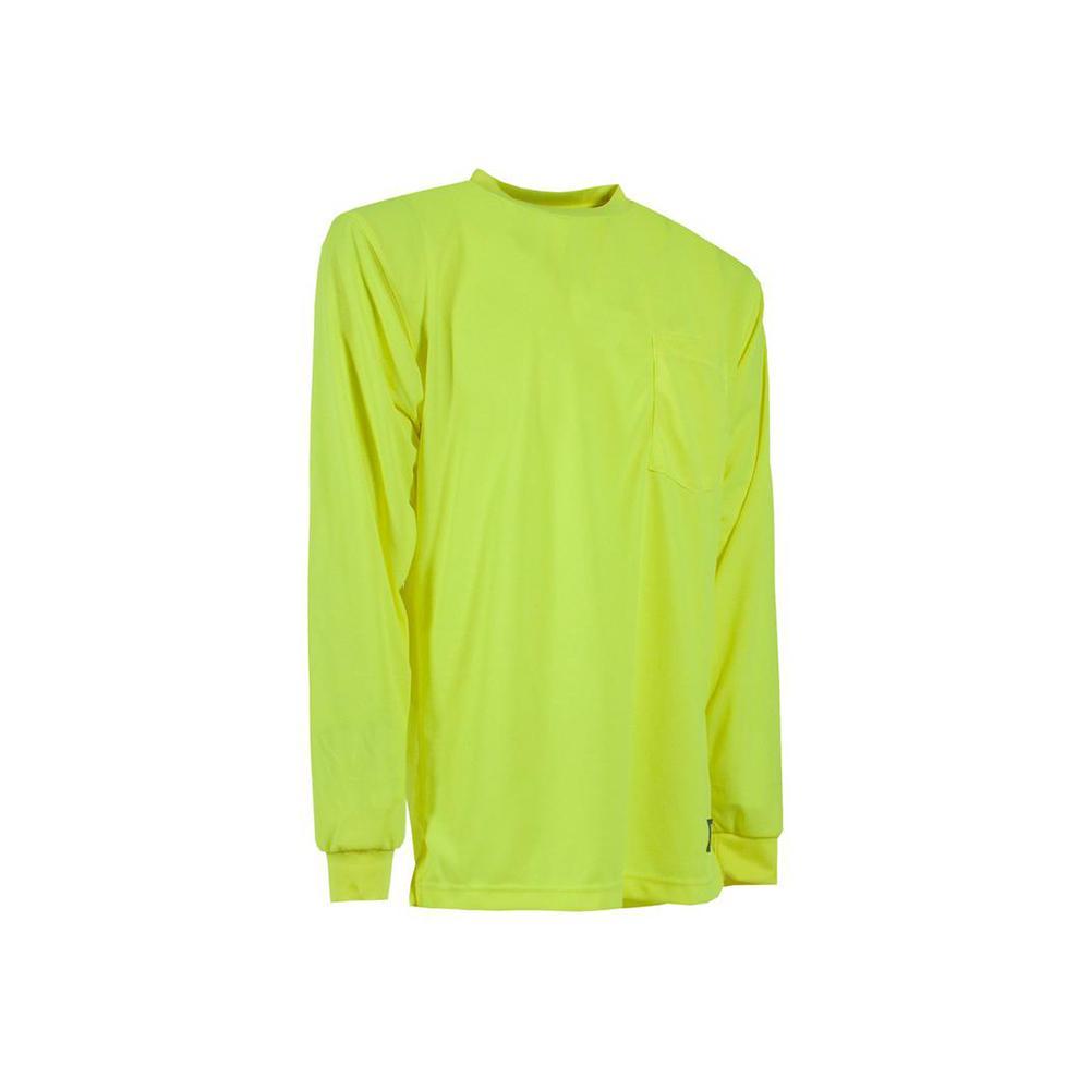 Men's Medium Regular Yellow Polyester Enhanced Visibility Performance Long Sleeve T-Shirt