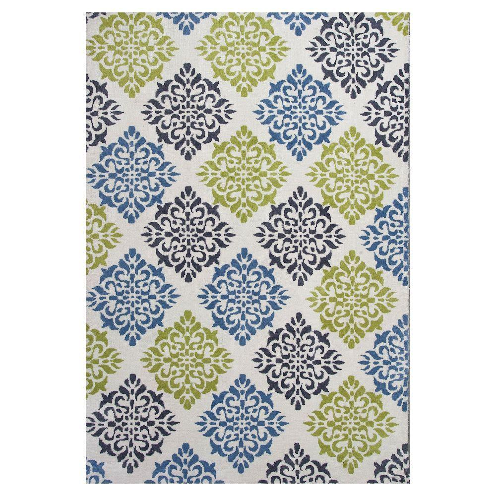 Kas Rugs Flora Tiles Ivory/Green 2 ft. 6 in. x 4 ft. 2 in. Area Rug