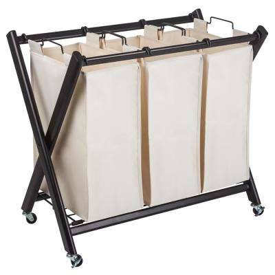Deluxe Steel Triple Laundry Sorter